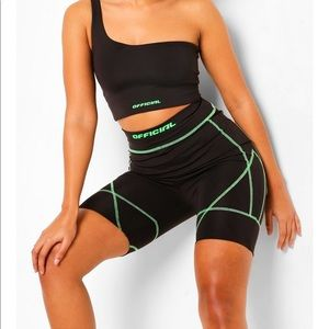 NWT Boohoo Neon Contrast Stitch Cycling Shorts